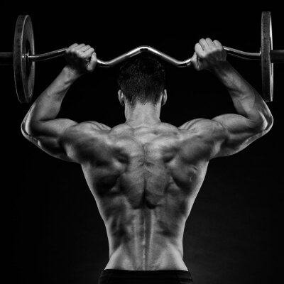 Poster bodybuilder showing his back