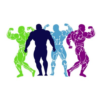 Poster Bodybuilding, power lifting, icon, vector, flat