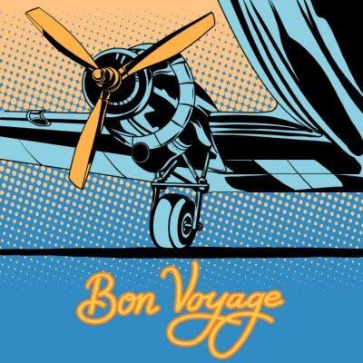 Poster Bon voyage retro travel airplane poster