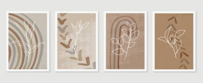 Poster Botanical and golden line wall art vector set. Earth tone boho foliage line art drawing with  abstract shape.  Abstract Plant Art design for print, cover, wallpaper, Natural wall art..
