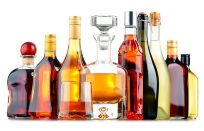 Poster Bottles of assorted alcoholic beverages