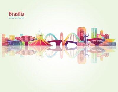 Poster Brasilia detailed skylines. vector illustration