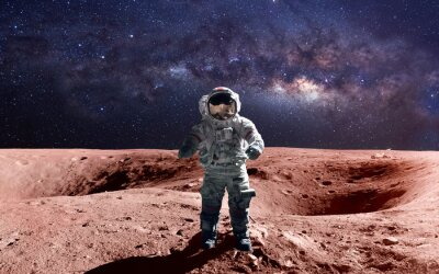 Poster Brave astronaut at the spacewalk on the mars. This image elements furnished by NASA.