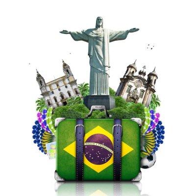 Poster Brazil, Brazil landmarks, travel and retro suitcase