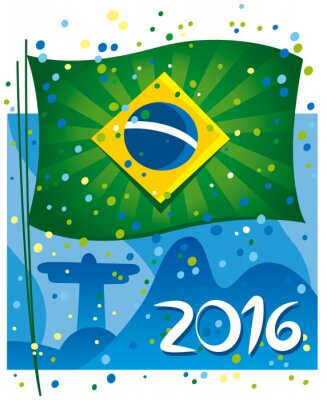 Poster Brazil flag celebrating the new year in wonderful city