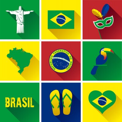 Poster Brazil Flat Icon Set.  Set of vector graphic flat icons representing landmarks and symbols of Brazil.