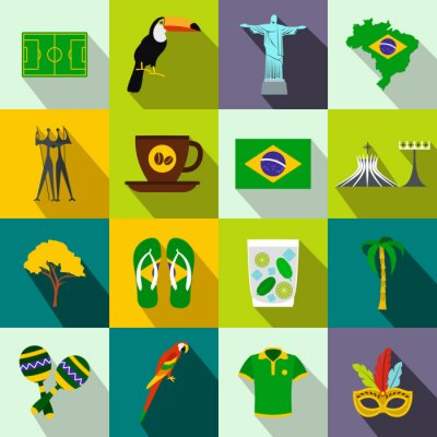 Poster Brazil icons flat