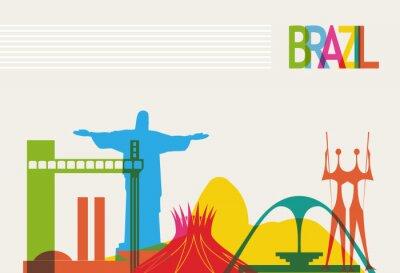Poster Brazil tourism skyline