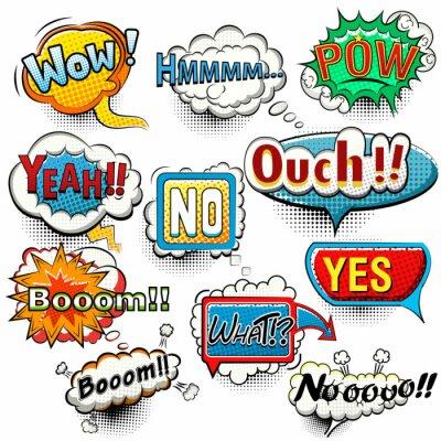 Poster Bright comic speech bubbles screams, phrases, sounds vector