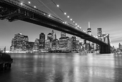 Poster Brooklyn Bridge at dusk viewed from the Brooklyn Bridge Park in New York City.
