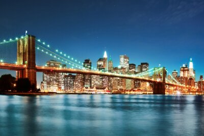 Poster Brooklyn bridge at night