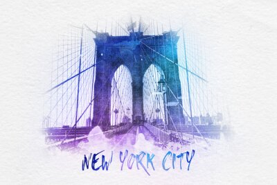 Poster Brooklyn bridge with New York City text