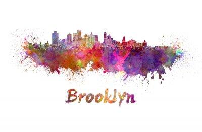 Poster Brooklyn skyline in watercolor