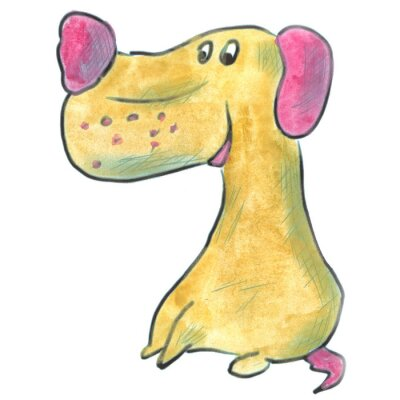 Poster brown dog with pink ears cartoon watercolor isolated