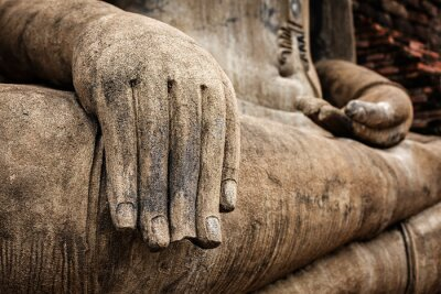 Poster Buddha statue hand close up detail