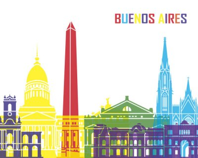 Poster Buenos Aires skyline pop