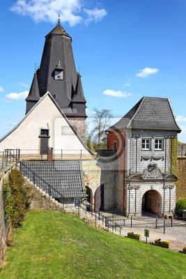 Poster Burg Bad Bentheim, Turm der Katharinenkirche und oberes Burgtor