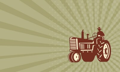 Poster Business card Farmer Driving Vintage Tractor Retro