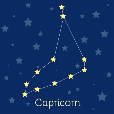 Poster Capricorn Earth Zodiac  constellation with stars in cosmos. Vector image