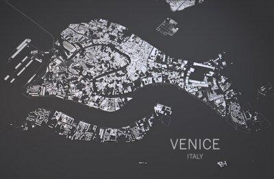 Poster Cartina di Venezia, Italia, vista satellitare, mappa 3d