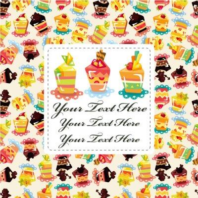 Poster cartoon cake card.