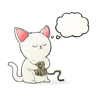 Poster cartoon cat playing with ball of yarn with thought bubble