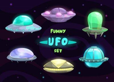 Poster Cartoon fantastic ufo set