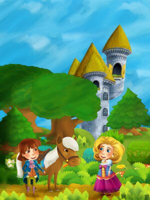 Poster cartoon forest scene with prince with his horse and princess standing and talking on the path near castle tower