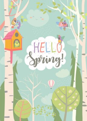 Poster Cartoon frame with spring forest and birds