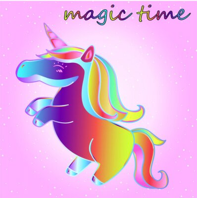 Poster cartoon neon unicorn with stars on a pink gradient background - a time of adventure and a time of magic