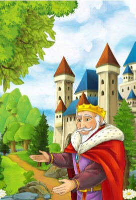 Poster Cartoon scene with happy king welcoming somebody - handsome manga man - illustration for children