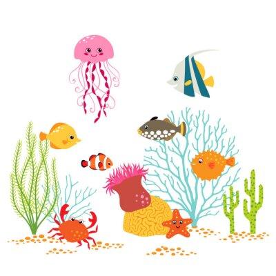 Poster Cartoon underwater design on white background