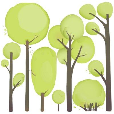 Poster Cartoon Watercolor Trees Set