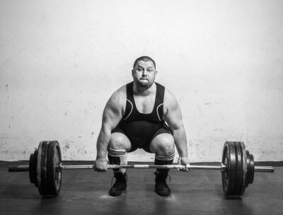 Poster Champion Powerlifter with strong arms lifting weights