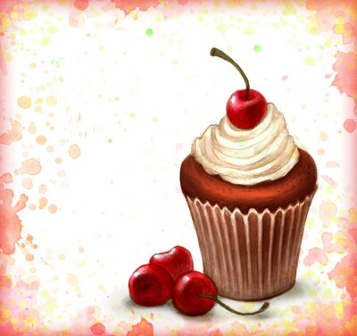 Poster Cherry chocolate cupcake on watercolor background