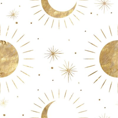 Poster chic golden luxurious retro vintage engraving style. image of the sun and moon phases. culture of occultism. Vector graphics