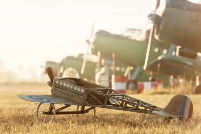Poster Child model airplane parked with retro airplanes