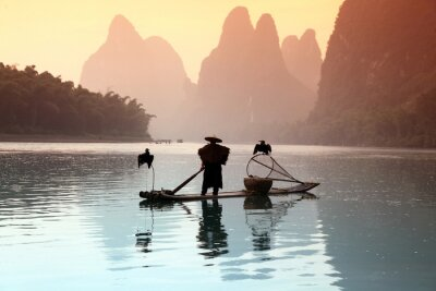 Poster Chinese man fishing with cormorants birds