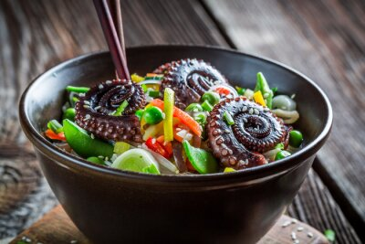 Poster Chinese mix vegetables with octopus