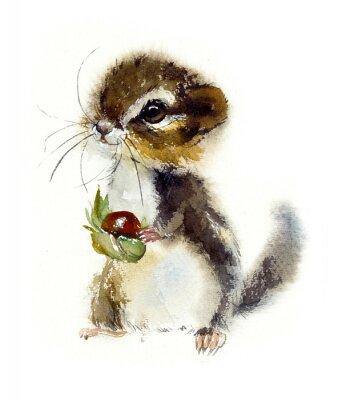 Poster Chipmunk. Watercolor hand drawn illustration.