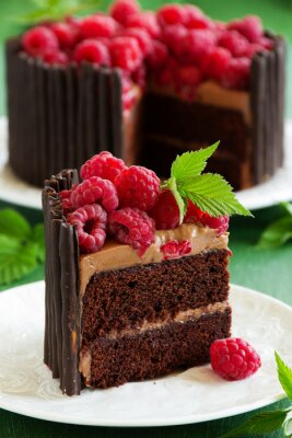 Poster Chocolate cake with raspberries.