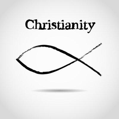 Poster christian fish symbol. logo
