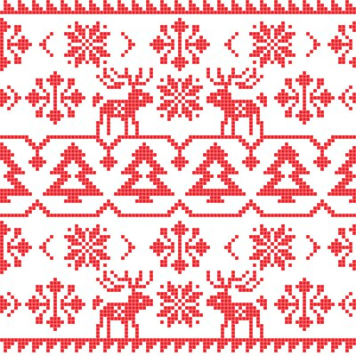 Poster Christmas and Winter knitted seamless pattern