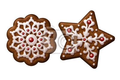 Poster Christmas Gingerbread Cookies Star Snowflake Isolated