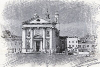 Poster Church Santa Maria del Rosario in Italy, Venice. Sketch