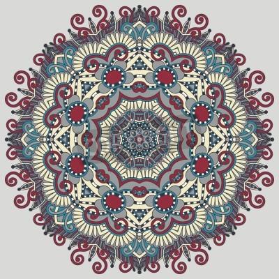Poster Circle lace ornament, round ornamental geometric doily pattern
