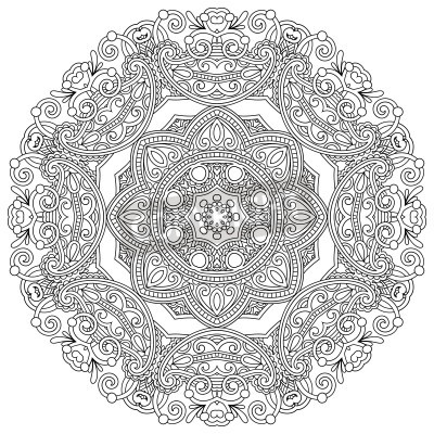 Poster Circle ornament, black and white ornamental round lace