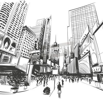 Poster City hand drawn, vector illustration