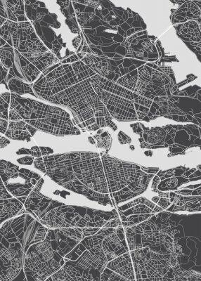 Poster City map Stockholm, monochrome detailed plan, vector illustration