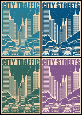 Poster city streets retro posters
